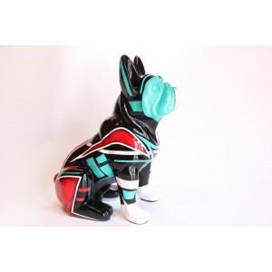 Escultura del artista Arte by Leyton - Green&Red lines dog