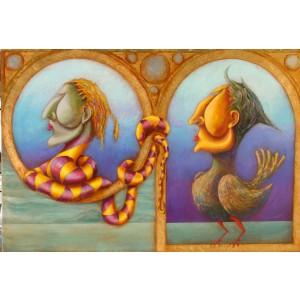 Pintura del artista Pedro Molina - El Gallo y el Lagartijo