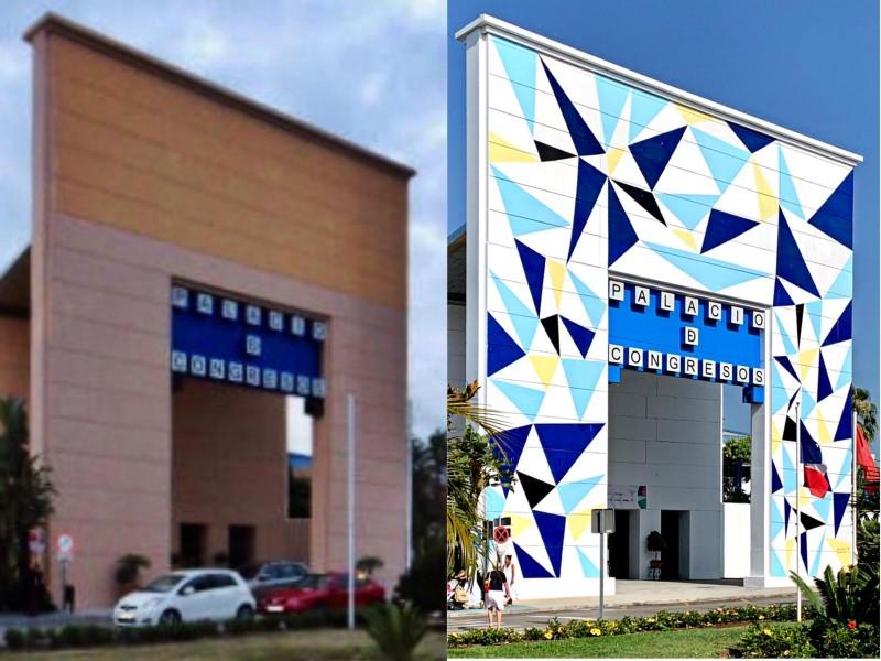 Curro Leyton y su mural en Palacio de Congresos Marbella